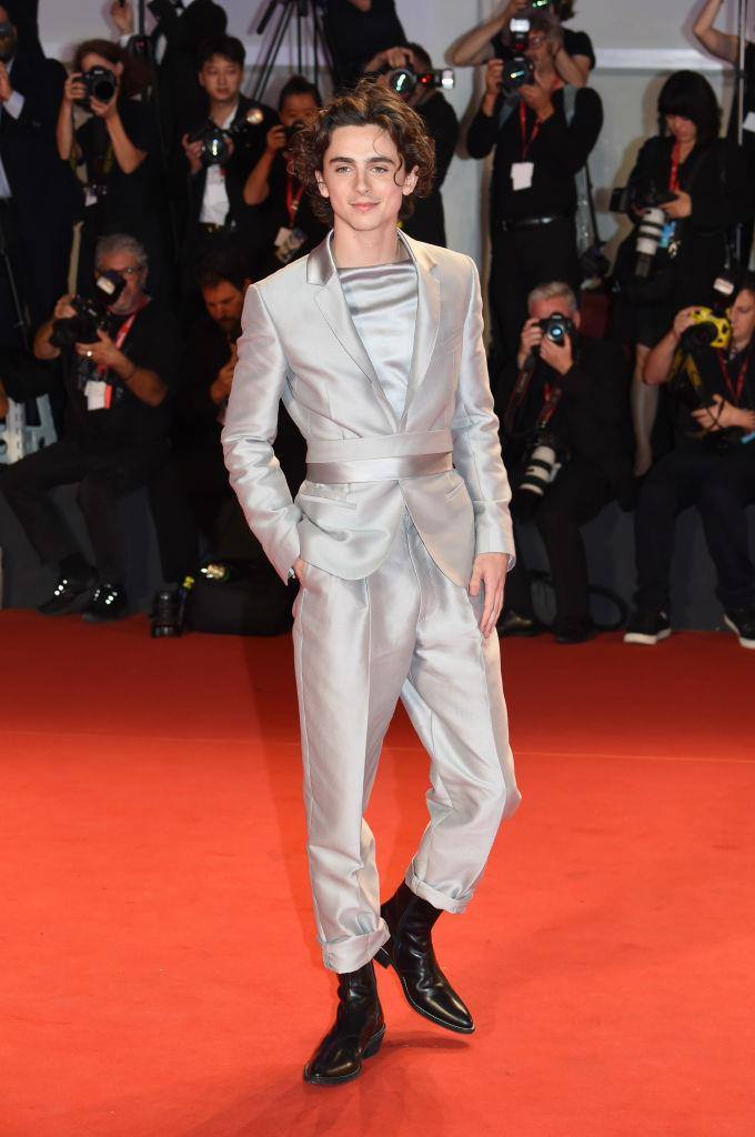 "**2. Timothée Chalamet**<br><br>  Timothée Chalamet continues his reign as the [best-dressed man in Hollywood](https://www.harpersbazaar.com.au/fashion/timothee-chalamet-style-19443|target=""_blank""). Besides the sequin hoodie he wore to the premiere of *The King* and the embellished Louis Vuitton bib he wore to the Golden Globes, one of his best fashion moments of the year comes courtesy of the metallic Haider Ackerman suit he wore at the Venice Film Festival—which saw a 806% spike in searches."