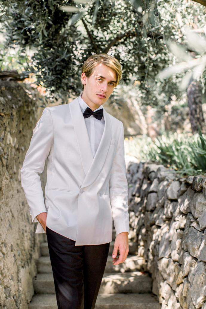 **On the groom's look:** I wanted a 'chic Positano' look, so my tuxedo was ordered in a Neaopolitan tailor specialising in men's handmade clothes.