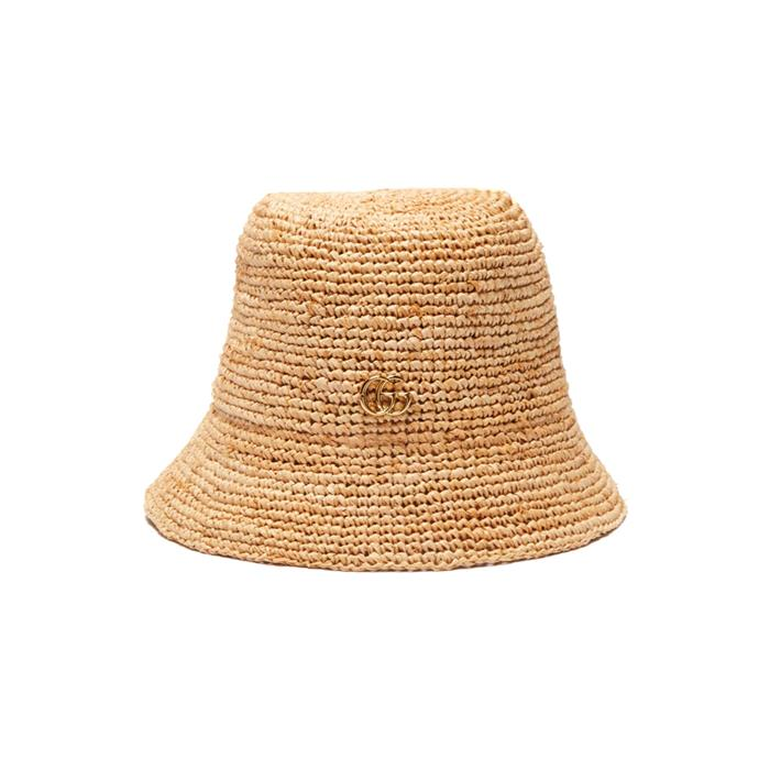 """Hat by Gucci, $515 at [MATCHESFASHION.COM.](https://www.matchesfashion.com/au/products/Gucci-Straw-bucket-hat-1247040
