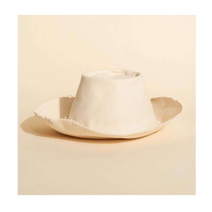 """Hat, $149 by [Lee Mathews](https://leemathews.com.au/collections/hats/products/the-hatters-magic-hat-natural