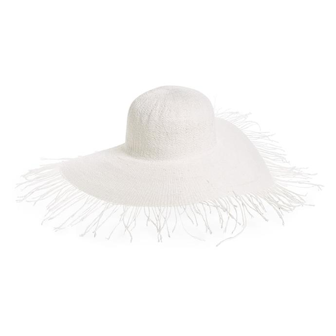 "Hat by Jacquemus, $318 at [Nordstrom](https://shop.nordstrom.com/s/jacquemus-riviera-fringe-brim-hat/5154489/lite|target=""_blank""|rel=""nofollow"")."