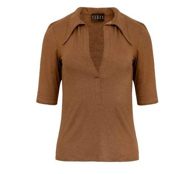 "**Top by Albus Lumen, $290 at [The Undone](https://www.theundone.com/collections/albus-lumen/products/polo-top|target=""_blank""