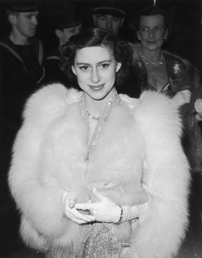 Channelling Hollywood glamour at a 1951 film premiere.