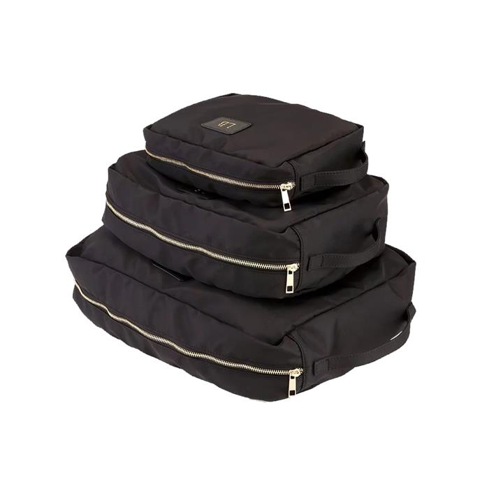"""Nylon packing cubes, $149.95 by [The Daily Edited](https://www.thedailyedited.com/black-nylon-packing-cube-set target=""""_blank"""" rel=""""nofollow"""")."""