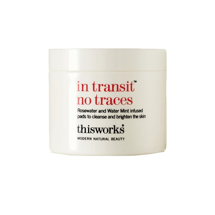 """Cleansing pads by This Works, $28 at [NET-A-PORTER](https://www.net-a-porter.com/au/en/product/528814/This_Works/in-transit-no-traces-60-pads target=""""_blank"""" rel=""""nofollow"""")."""