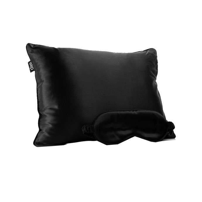 "Pillow and eye mask travel set by Slip, $188 at [NET-A-PORTER](https://www.net-a-porter.com/au/en/product/993545/Slip/beauty-sleep-to-go-travel-set target=""_blank"" rel=""nofollow"")."