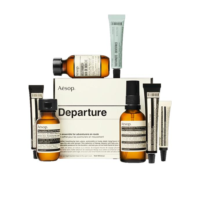 "Travel kit, $65 by [Aesop](https://www.aesop.com/au/p/kits-travel/travel/departure/ target=""_blank"" rel=""nofollow"")."