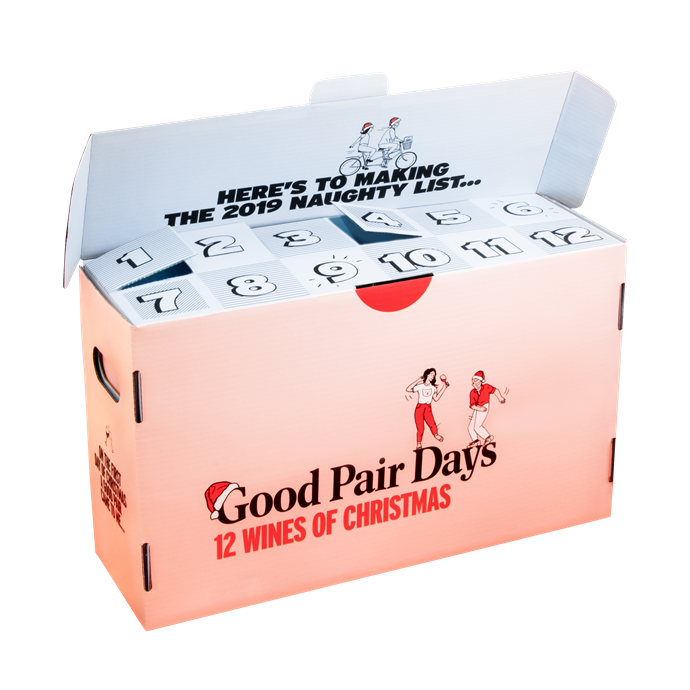 "12 Wines of Christmas Advent Calendar by Good Pair Days, $189 - $465 at [Good Pair Days](https://www.goodpairdays.com/special-packs/details/wine-advent-calendars|target=""_blank""