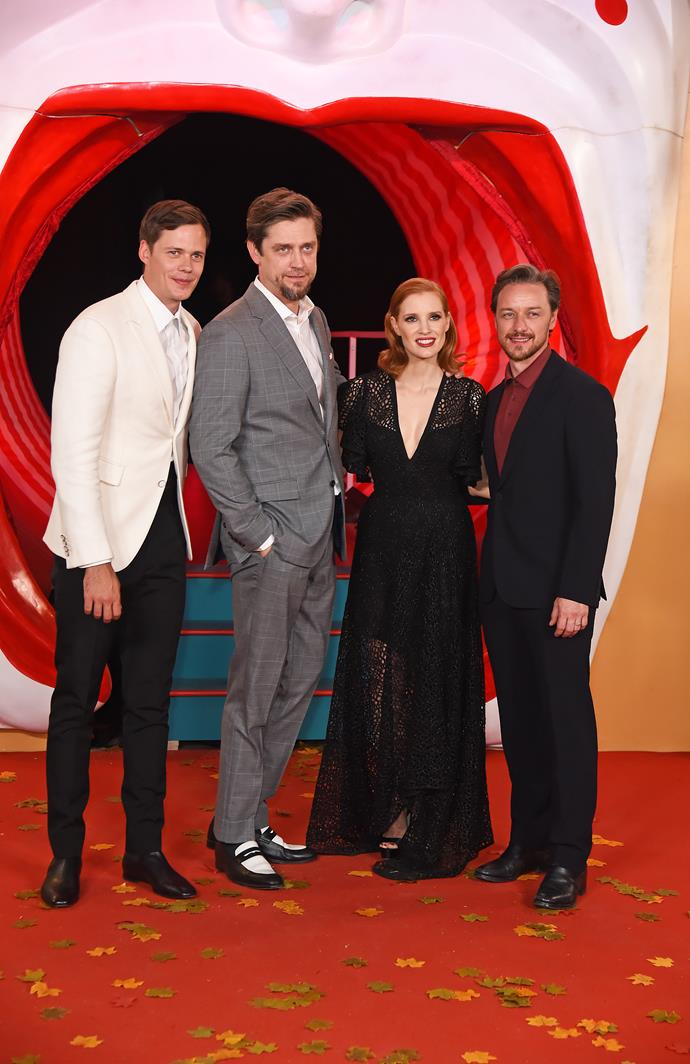 """Jessica Chastain (second from right) is 163 cm, or 5""""4', tall and James McAvoy (right) is 170 cm, or 5""""7', tall."""