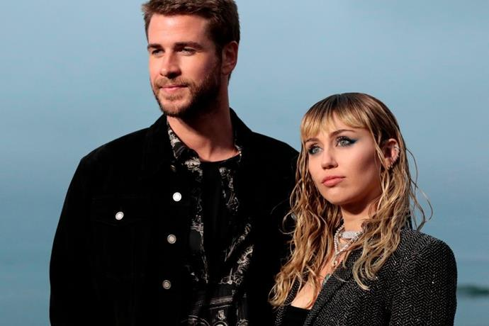 Miley Cyrus and Liam Hemsworth at Saint Laurent's spring/summer '20 show in June 2019.