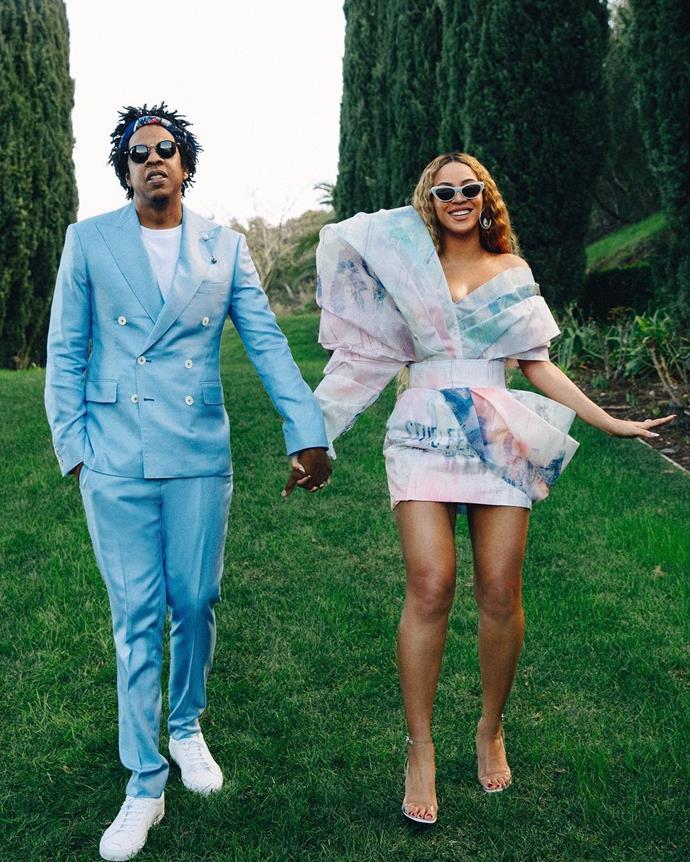 "Beyoncé and Jay Z's pastel parallels in 2019.<br><br>  *Image via [@beyonce](https://www.instagram.com/p/BttzBKJnrea/|target=""_blank""|rel=""nofollow"")*"