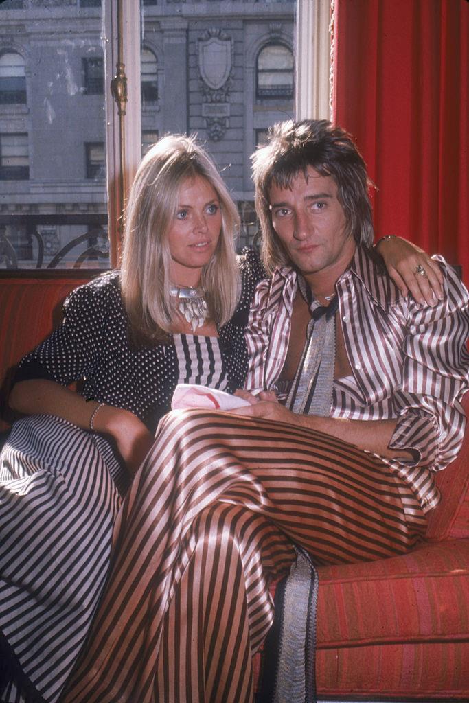 Rod Stewart and Britt Ekland's rock'n'roll stripes in 1975.