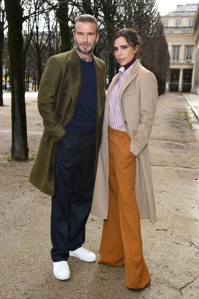 David and Victoria Beckham's earthy tones and overcoats in 2018.