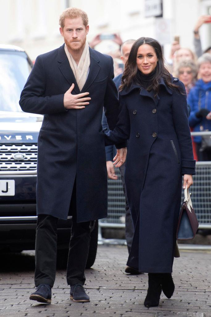Prince Harry and Meghan Markle's navy, black and beige looks in 2017.