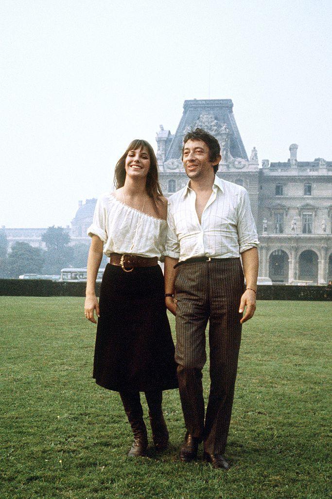 Jane Birkin and Serge Gainsbourg's Parisian-bohemian look in 1969.