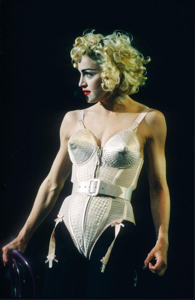 "Madonna on her ""Blonde Ambition"" Tour in Rotterdam, Holland, July 1990."