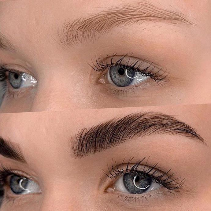 "**EYEBROW LAMINATION**<br><br>  With thicker arches remaining one of the [biggest brow trends of 2020](https://www.elle.com.au/beauty/eyebrow-trends-2020-22437|target=""_blank""), [eyebrow lamination](https://www.elle.com.au/beauty/eyebrow-lamination-22517