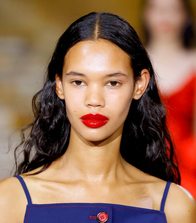 **BOLD VINYL LIPS**<br><br>  While striking lips are always de rigueur, expect 2020's iteration to take on a vibrant vinyl effect. Endorsed by some of the world's biggest fashion houses, the high-shine lacquer look was seen on the runways of Sies Marjan (pictured here), Off-White and Louis Vuitton.