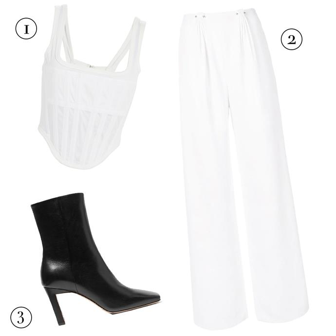 "**FOR PLAY**<br><bR> 1, Corset top, $490 by [Dion Lee](https://www.dionlee.com/shop/dion-lee/tops/sheer-jersey-corset-a3340-f19/282947|target=""_blank""
