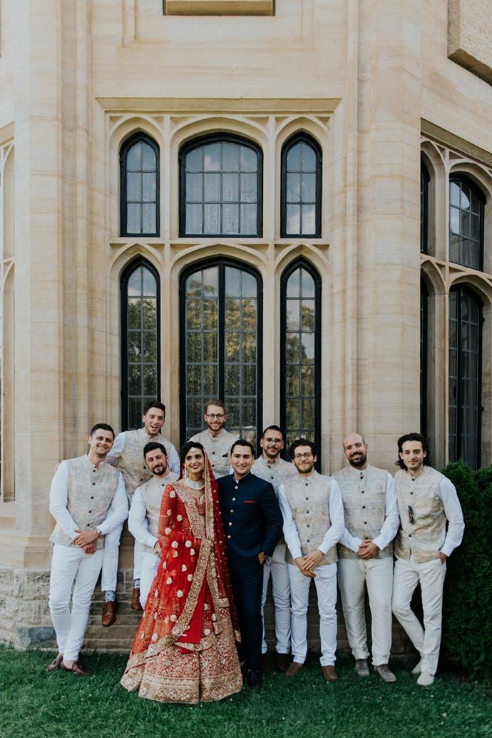 **On the groomsmen's looks:** For the groomsmen, we went for a modern Indo-French summer party look. We loved the embroidered patterns that define Indian culture, so we chose embroidered vests, white nehru collar shirts and white pants custom made in India for the groomsmen.