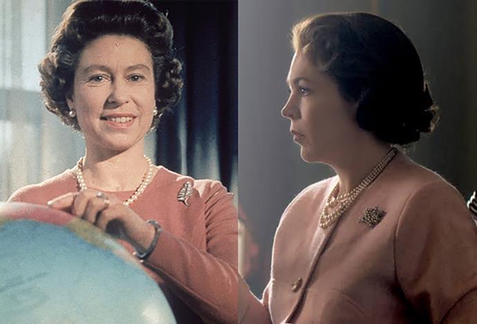 A pink cardigan on Queen Elizabeth.