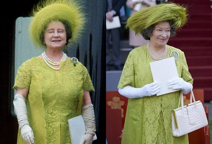 Elizabeth, the Queen Mother, at Prince Charles' investiture.