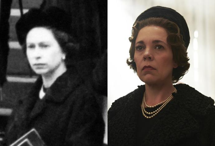 Queen Elizabeth, at Winston Churchill's funeral.