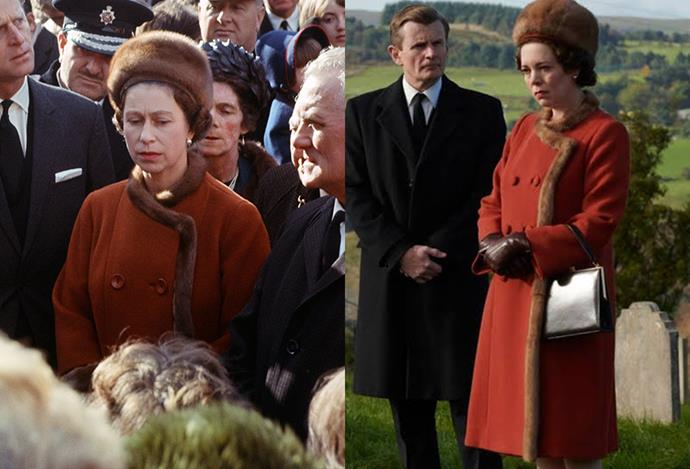 A red and fur coat, in Aberfan.