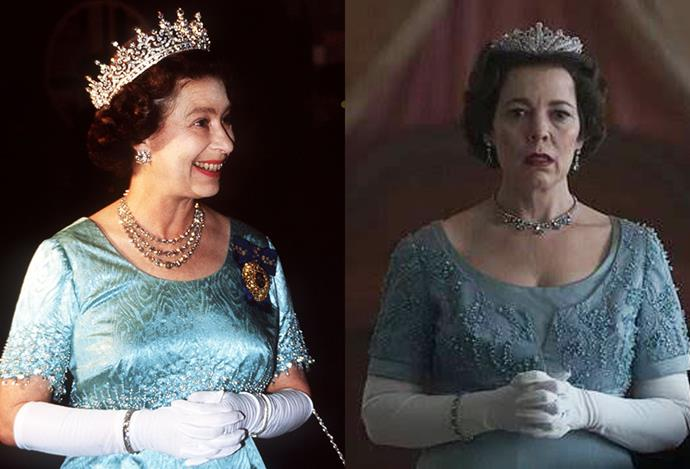 A blue gown and white opera gloves on Queen Elizabeth.