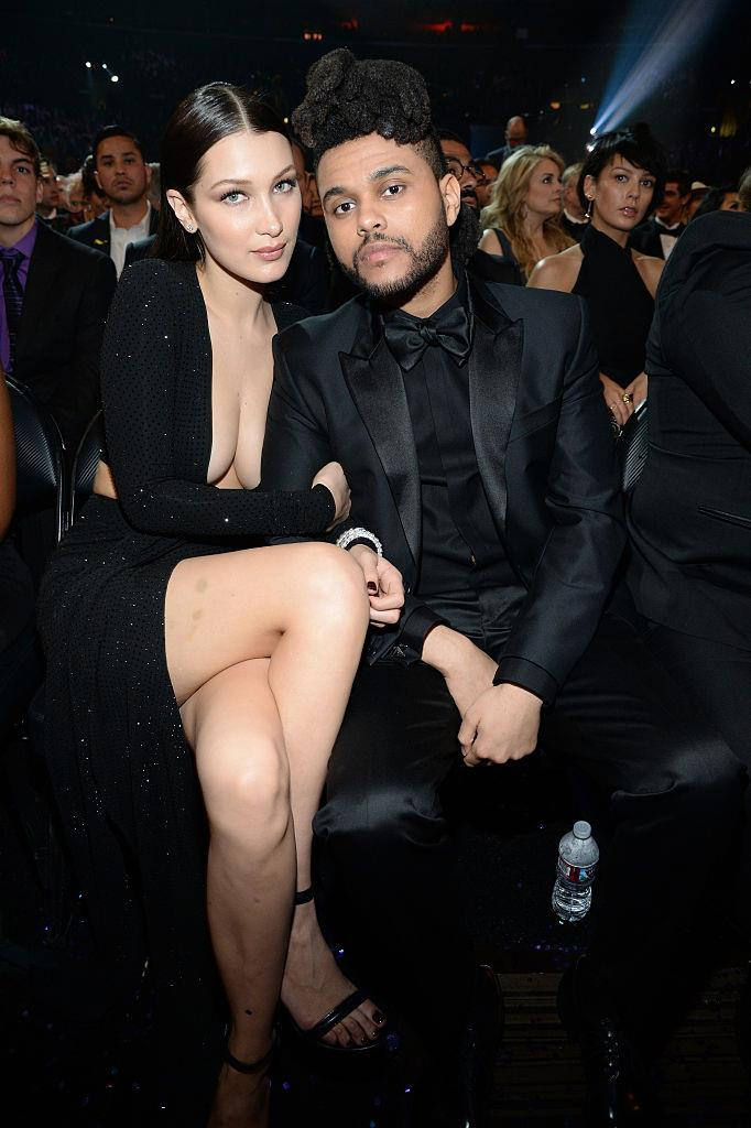 The Weeknd with Bella Hadid at the Grammy Awards in February 2016.