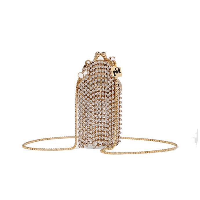 "Bag by Rosantica, $489.94 at [Net-A-Porter.](https://www.net-a-porter.com/au/en/product/1215780/rosantica/orfea-mini-fringed-crystal-embellished-gold-tone-shoulder-bag|target=""_blank""|rel=""nofollow"")"