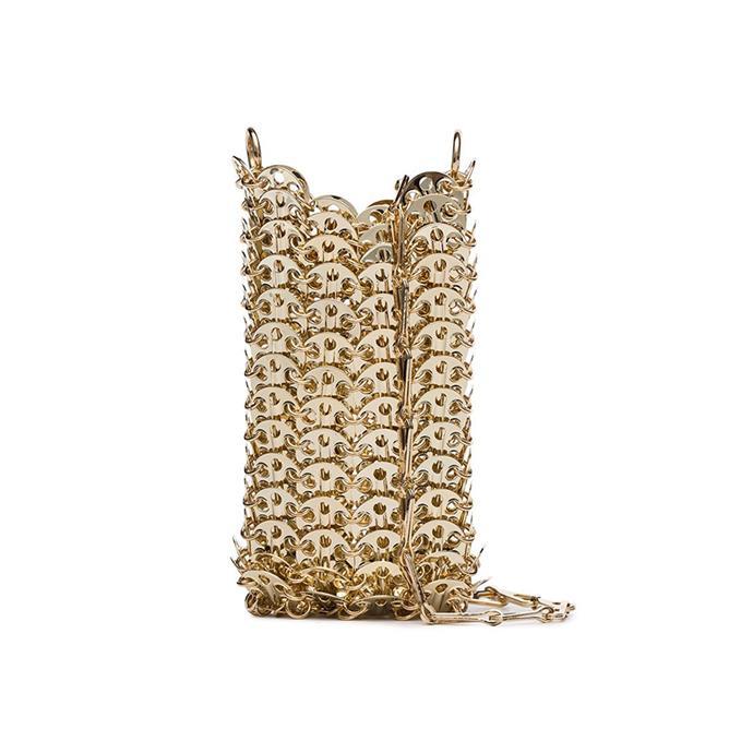 "Bag by Paco Rabanne, $1021 at [Farfetch.](https://www.farfetch.com/au/shopping/women/paco-rabanne-mini-1969-chain-crossbody-bag-item-14502837.aspx?storeid=9359|target=""_blank""|rel=""nofollow"")"