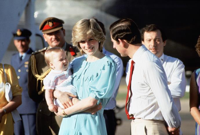 Prince Charles, Prince of Wales, Diana, Princess of Wales and their baby son, Prince William, arrive at Alice Springs airport on March 20, 1983.