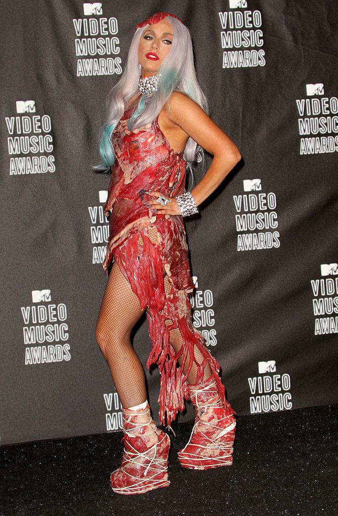 **Lady Gaga in Brandon Maxwell at the MTV VMAs (2010)** <br><br> When Gaga wore this controversial dress made entirely from uncooked meat to the 2010 VMAs, many considered it to be simply a shocking statement. What many don't know, however, was that the dress was linked to her protest against the U.S. military's controversial 'Don't Ask, Don't Tell' policy, which encouraged LGBTQ+ people in the military to keep their sexual identities a secret.