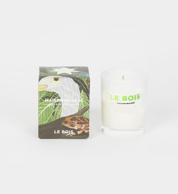 "Maison Balzac Mini Le Bois Soy Candle, $29 from [My Chameleon](https://www.mychameleon.com.au/living/mini-le-bois-spy-candle-maison-balzac|target=""_blank""|rel=""nofollow"")."