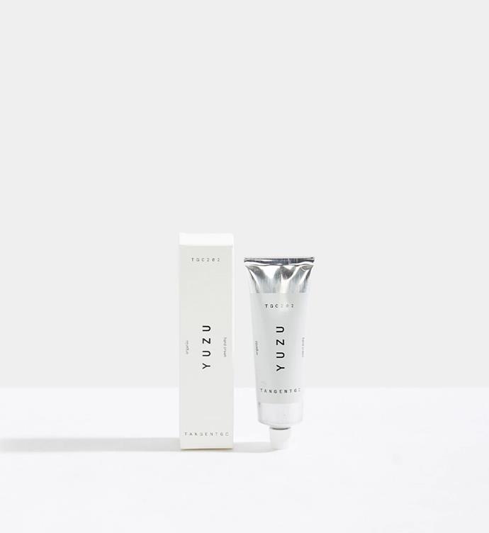 "Tangent Garment Care Yuzu Hand Cream, 50ml for $35 from [Incu](https://www.incu.com/products/yuzu-hand-cream-50ml|target=""_blank""|rel=""nofollow"")."