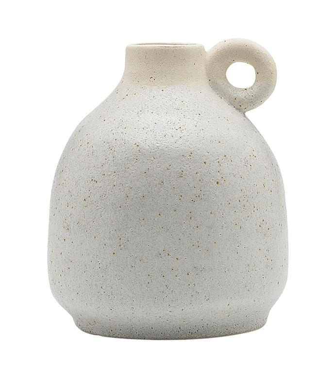 """Clay handle ceramic vase, $19.95 from [Temple & Webster](https://www.templeandwebster.com.au/14cm-Clay-Handle-Ceramic-Vase-EC18122-ELGY1532.html
