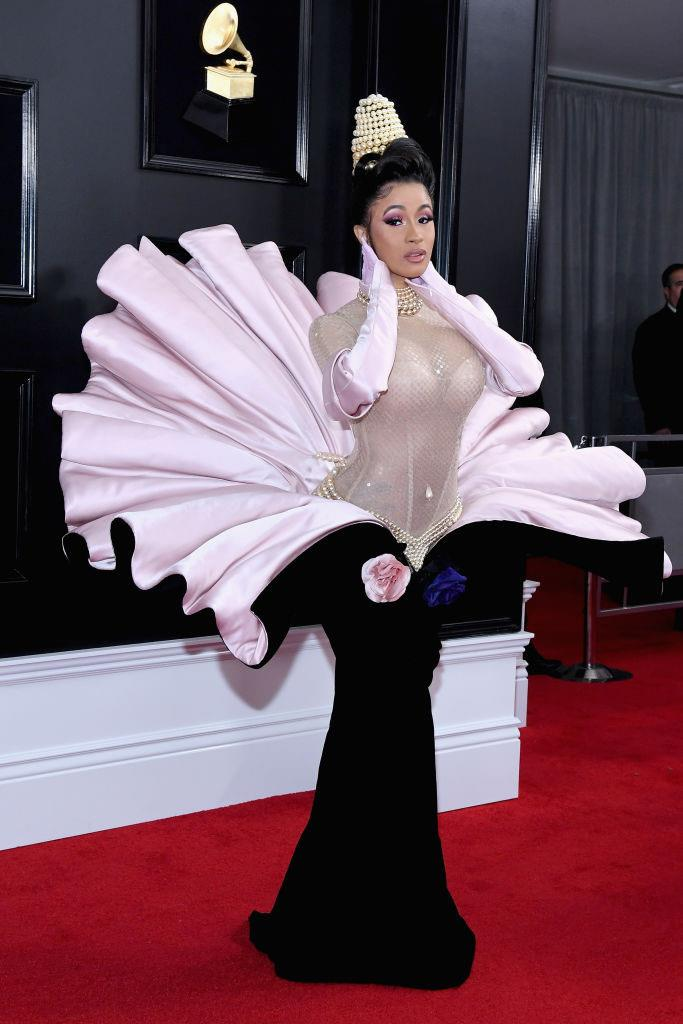 **Cardi B in archival Mugler at the Grammy Awards (2019)** <br><br> Cardi B made the fashion world pay attention when she dug into Thierry Mugler's archives for her outfit at the 2019 Grammys. In a sea (pun intended) of ball gowns, Cardi's outfit cemented her as one of fashion's rising stars, and also helped popularise the modern-day revival of Mugler's '90s designs.