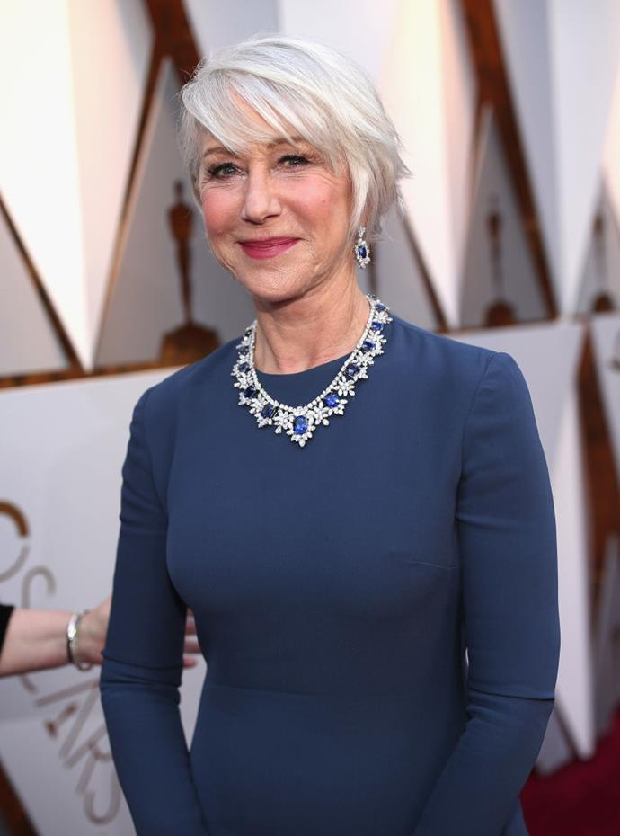 "**Helen Mirren**<br><br>  When it comes to her locks, the [*Catherine the Great*](https://www.harpersbazaar.com.au/culture/helen-mirren-catherine-the-great-18998|target=""_blank"") star credits her hair type with enabling her to grow out the grey.<br><br>  ""I have very fine hair so I've always been quite careful not to overtreat it. I don't normally colour or dye it, I like it to grow naturally,"" she [told](https://www.dailymail.co.uk/femail/article-2926043/My-beauty-secrets-Dame-Helen-69-looks-stunning-reveals-new-ad-campaign-Helen-Mirren-tells-exclusively-does-it.html