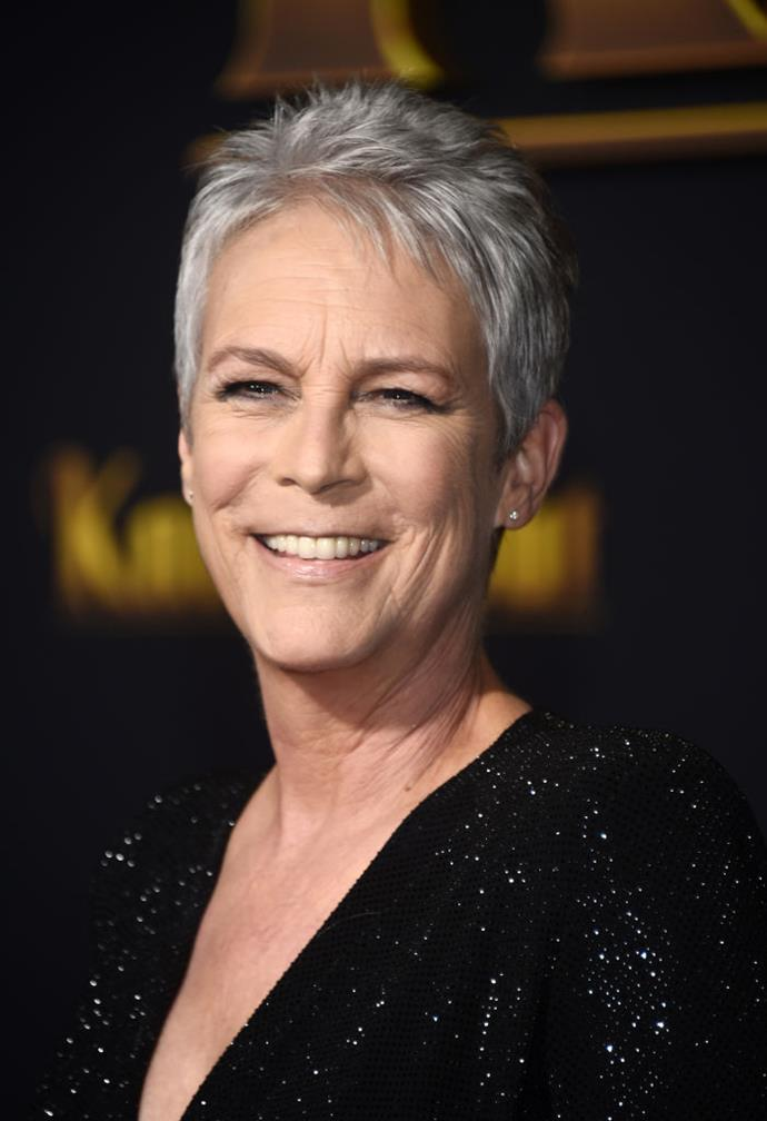 "**Jamie Lee Curtis**<br><br>  It took a flash of insight in the hairdresser's chair to convince *True Lies* star Jamie Lee Curtis to quit covering her greys.<br><br>  ""The epiphany came when I was sitting in a hair salon thinking, 'What the eff am I doing putting a chemical on my head that burns?'"" she told *Everyday Health* in 2017 (quote via [*Insider*](https://www.insider.com/celebrities-who-have-gray-hair-2019-3#jamie-lee-curtis-wears-bold-short-cuts-with-her-silver-hair-1