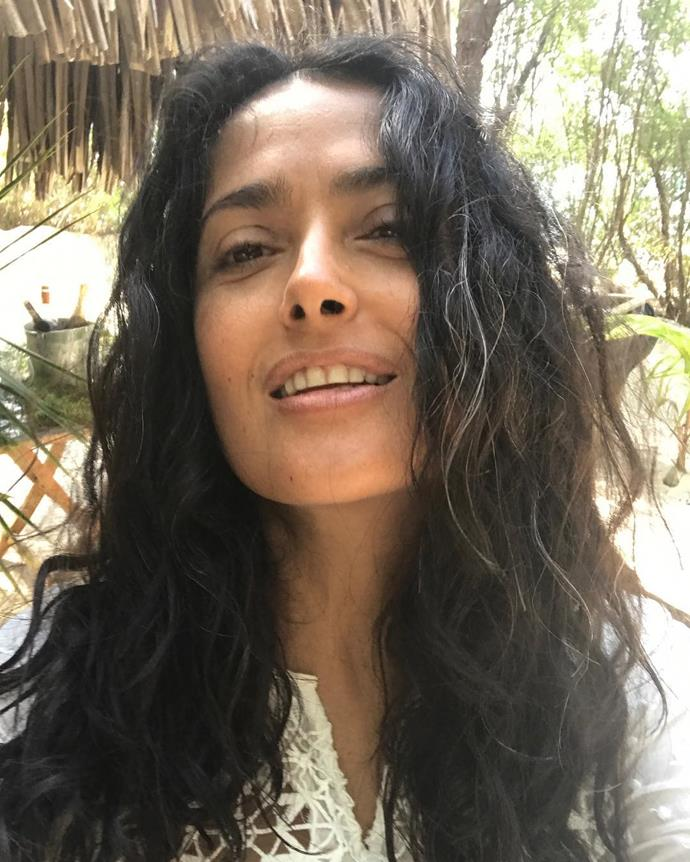 "**Salma Hayek**<br><br>  Like Grant, [Salma Hayek](https://www.harpersbazaar.com.au/health-fitness/salma-hayek-diet-exercise-19217|target=""_blank"") also shared her thoughts on going grey to Instagram.  Taking to the social media platform in February 2019, Hayek posted a selfie showcasing a few sneaky silver strands.<br><br>  ""Proud of my white hair,"" she wrote in the caption.<br><br>  *Image via [@salmahayek](https://www.instagram.com/p/Btb0vvNFROR/
