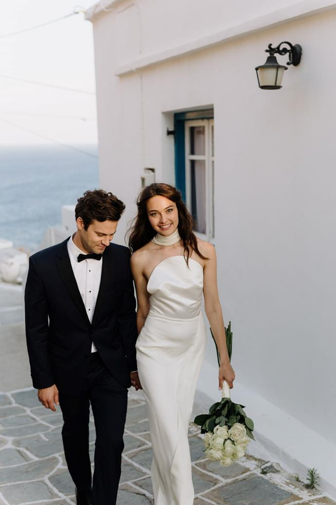 **On the bride and groom:** Katharina Rembi Scott, a model and actress, and Jared P. Scott, a movie director, live in New York City and got married on June 15, 2019, on the Island of Sifnos in Greece.