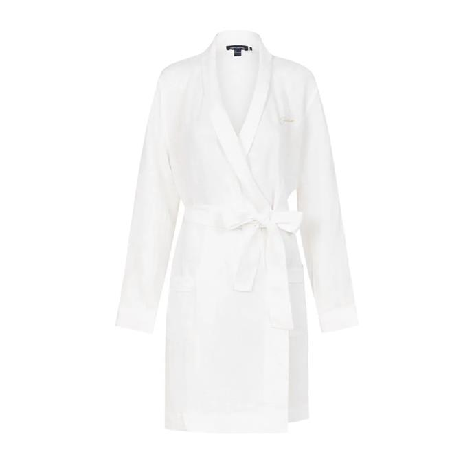 "*A monogrammed linen robe*<br><br> Robe, $149 by [Jasmine and Will](https://www.jasmineandwill.com/monogrammed-linen-robe-white-with-white-trim.html|target=""_blank""