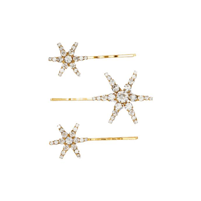 "*Star hair pins*<br><br> Set of 3 pins by Jennifer Behr, $214 at [NET-A-PORTER](https://fave.co/2sgIC1F|target=""_blank""