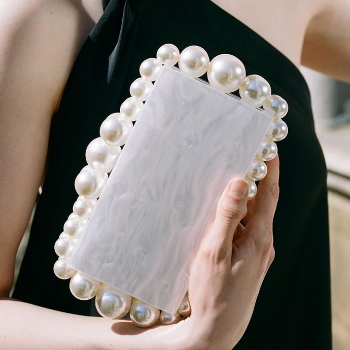 """**What about handbags?**<br><br>  *A PEARL-EMBELLISHED CLUTCH*<br><br>  *Image via [@cultgaia](https://www.instagram.com/p/B2fpOSyAKLe/