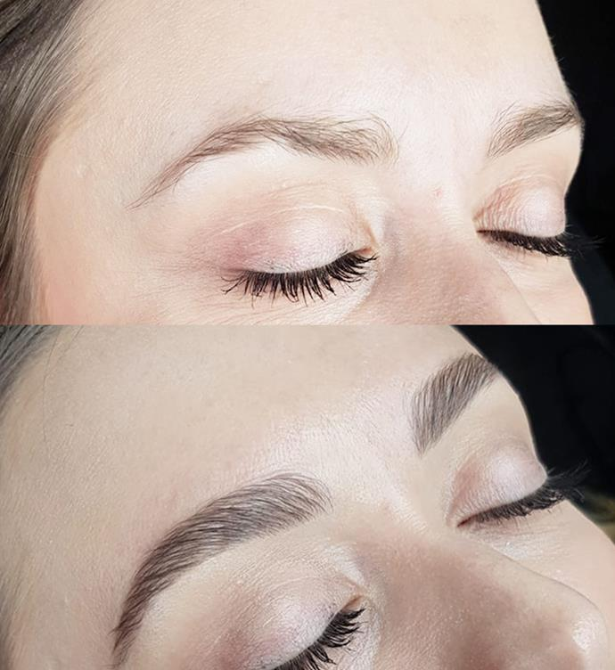 Before (top) and after (bottom) my brow lamination.