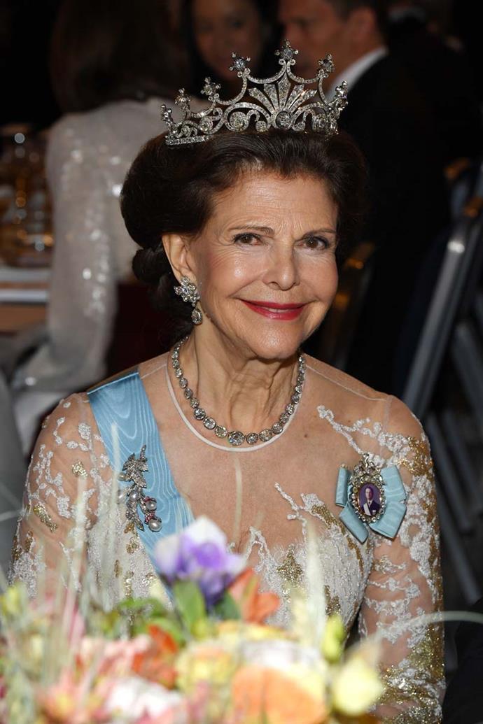 Queen Silvia of Sweden wearing the 'Nine Prong' tiara.