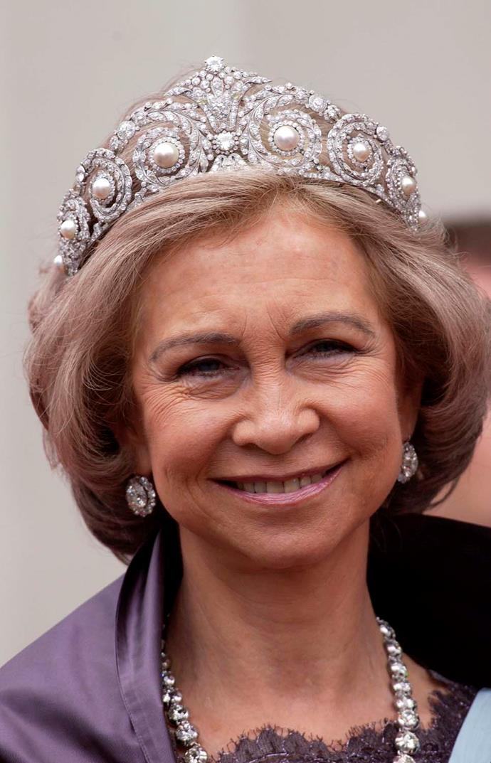 **The tiara:** The Cartier Diamond and Pearl Tiara.<br><br> **The wearer:** The Spanish Royal Family.<br><br> **The details:** The pearls in this swirling diamond tiara can be swapped out for emeralds. <br><br>