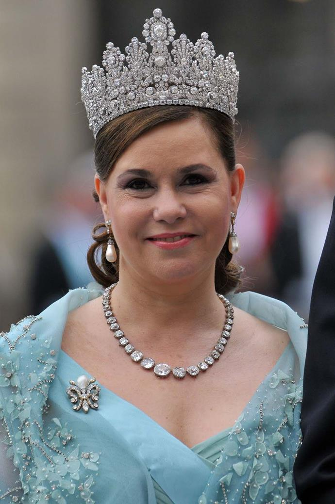 **The tiara:** The Luxembourg Empire Tiara.<br><br> **The wearer:** Maria Teresa, Grand Duchess of Luxembourg.<br><br> **The details:** Often considered one of the biggest tiaras in Europe, this 'Empire'-style piece stands at over four inches tall.<br><br>