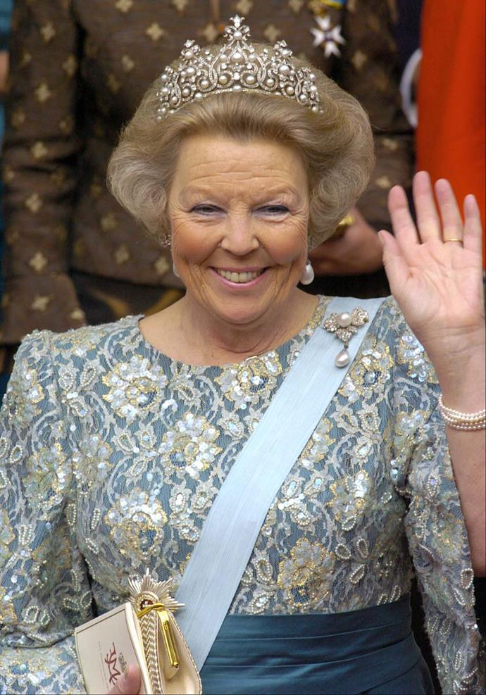 **The tiara:** The Württemberg Tiara.<br><br> **The wearer:** Queen Beatrix of the Netherlands. <br><br> **The details:** This platinum tiara features 11 pearls as the focal point. <br><br>